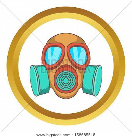 Gas mask vector icon in golden circle, cartoon style isolated on white background