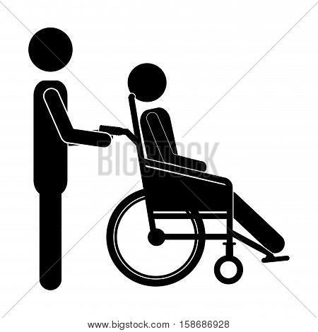 silhouette person helping another push a reclining wheelchair vector illustration