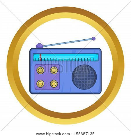 Retro radio receiver vector icon in golden circle, cartoon style isolated on white background