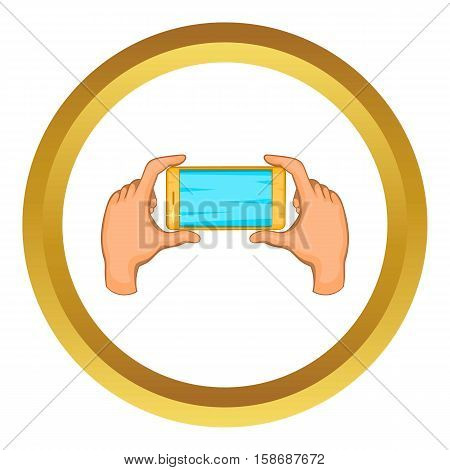 Hands holding cell phone vector icon in golden circle, cartoon style isolated on white background