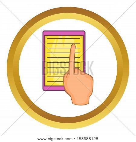 E-book and hand vector icon in golden circle, cartoon style isolated on white background
