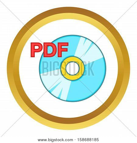 PDF book vector icon in golden circle, cartoon style isolated on white background