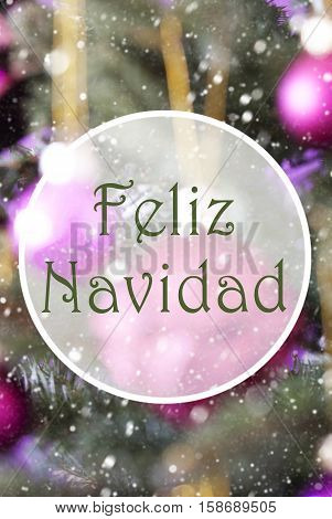Spanish Text Feliz Navidad Means Merry Christmas. Vertical Christmas Tree With Rose Quartz Balls. Close Up Or Macro View. Christmas Card For Seasons Greetings. Snowflakes For Winter Atmosphere.