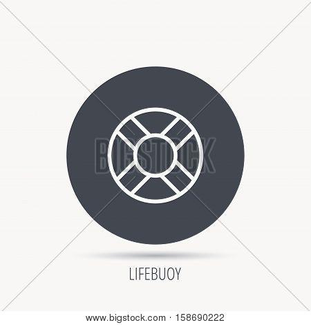 Lifebuoy icon. Lifebelt sos sign. Lifesaver help equipment symbol. Round web button with flat icon. Vector