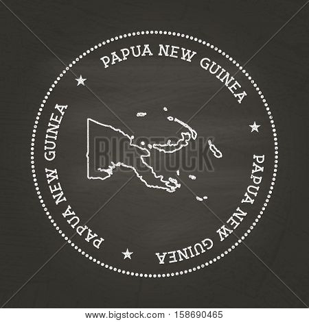 White Chalk Texture Vintage Seal With Independent State Of Papua New Guinea Map On A School Blackboa