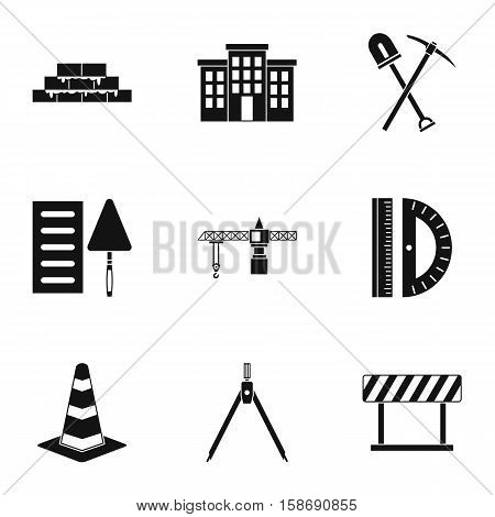 Building tools icons set. Simple illustration of 9 building tools vector icons for web