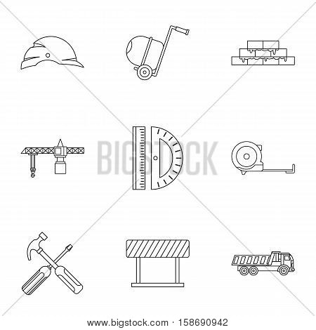 Repair tools icons set. Outline illustration of 9 repair tools vector icons for web