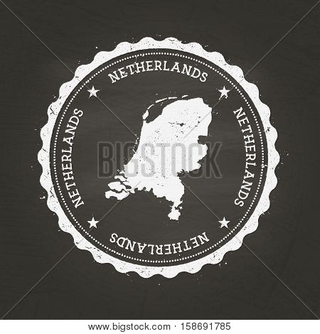White Chalk Texture Rubber Stamp With Kingdom Of The Netherlands Map On A School Blackboard. Grunge