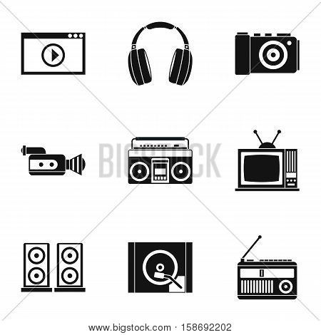 Electronic devices icons set. Simple illustration of 9 electronic devices vector icons for web