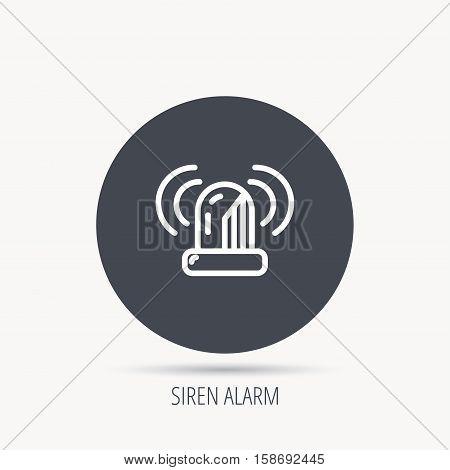 Siren alarm icon. Alert flashing light sign. Round web button with flat icon. Vector