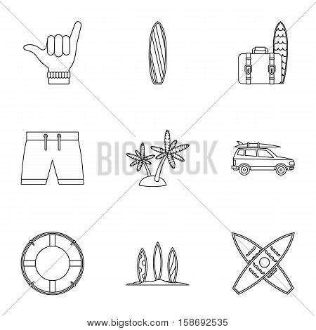 Swimming on surfboard icons set. Outline illustration of 9 swimming on surfboard vector icons for web