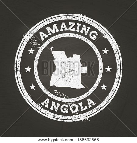 White Chalk Texture Vintage Stamp With People's Republic Of Angola Map On A School Blackboard. Grung