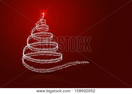 Abstract christmas tree red background. White christmas tree from lines sparkles dots and transparent circles on red gradient backdrop with shadow and reflection.