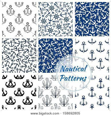 Nautical patterns set. Vector seamless marine background of ship anchor, sailor helm, beacon lighthouse. Navy pattern
