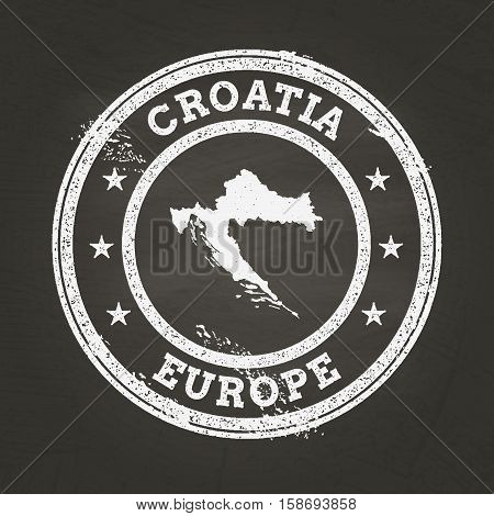 White Chalk Texture Grunge Stamp With Republic Of Croatia Map On A School Blackboard. Grunge Rubber
