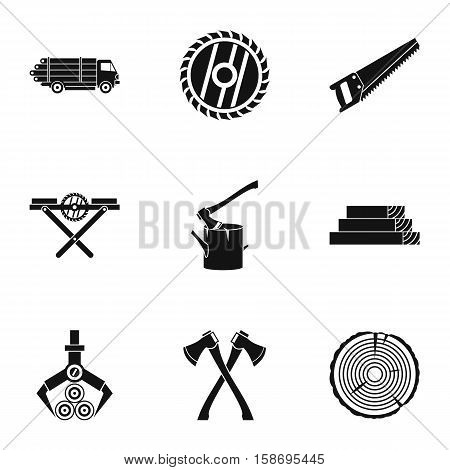 Sawing woods icons set. Simple illustration of 9 sawing woods vector icons for web