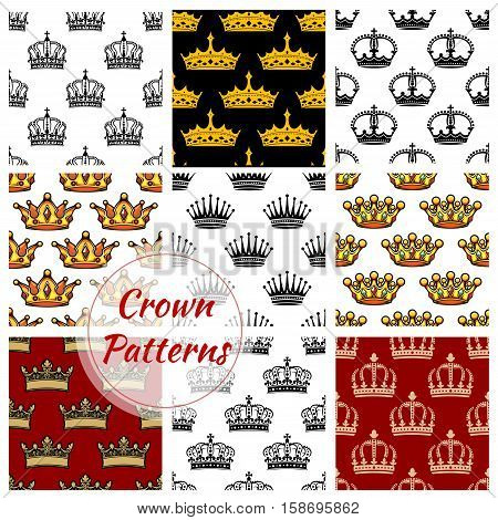 Royal crown patterns set. Vector seamless background of imperial king and queen golden crowns