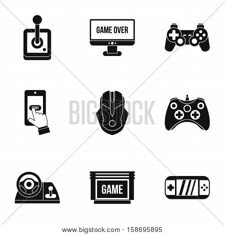 Computer games icons set. Simple illustration of 9 computer games vector icons for web