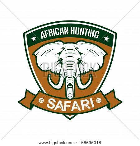 Hunting sport club sign. African safari hunter sport badge icon with shield, elephant tusk, ribbon. Wild animals hunt adventure