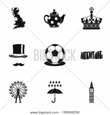 Country United Kingdom icons set. Simple illustration of 9 country United Kingdom vector icons for web