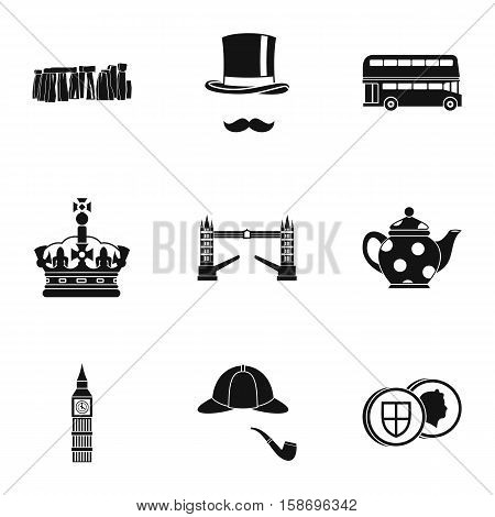 Attractions of United Kingdom icons set. Simple illustration of 9 attractions of United Kingdom vector icons for web