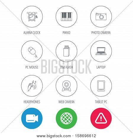 Photo camera, USB flash and notebook laptop icons. PC mouse, alarm clock and web camera linear signs. Tablet PC and music headphones icons. Video cam, hazard attention and internet globe icons. Vector