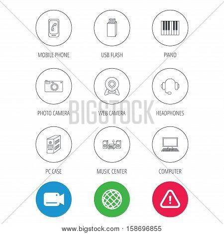 Photo camera, headphones and Usb flash icons. PC case, computer with monitor and web camera linear signs. Piano icons. Video cam, hazard attention and internet globe icons. Vector