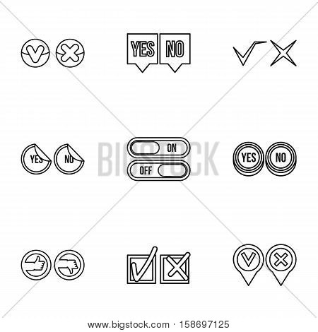 Yes no choice icons set. Outline illustration of 9 yes no choice vector icons for web