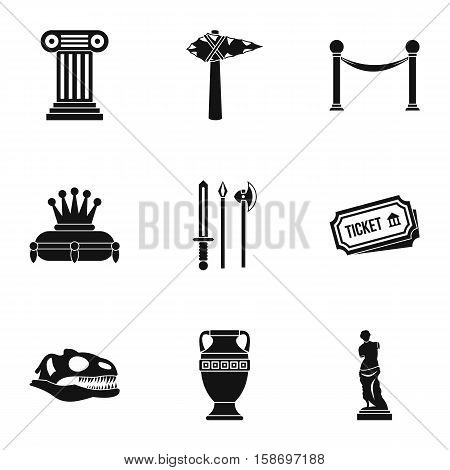 Historical museum icons set. Simple illustration of 9 historical museum vector icons for web