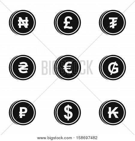 Types of money icons set. Simple illustration of 9 types of money vector icons for web