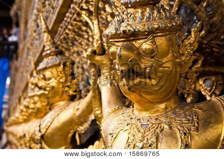 Golden Garuda Face Decoration In The Temple Of Emerald Buddha