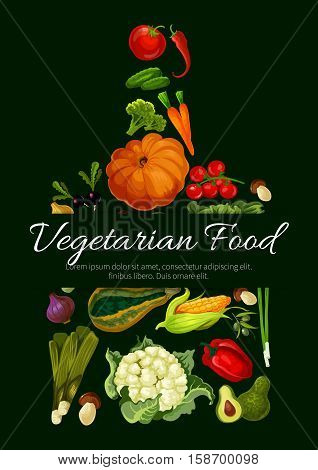 Cutting board shape with natural farm vegetables pumpkin, cabbage and pea, cucumber and cauliflower, corn and onion, carrot, eggplant and tomato, garlic, beet, and pepper, broccoli, radish and mushroom, avocado and leek, olives