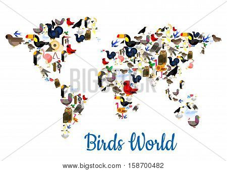 Birds world in shape of world map with continents. Vector flamingo, peacock, sparrow and pigeon, owl and swallow, ostrich, colibri and swan, swallow and parrot, eagle and woodpecker, pigeon and falcon, dove, toucan, turkey, gull. Wild forest birds