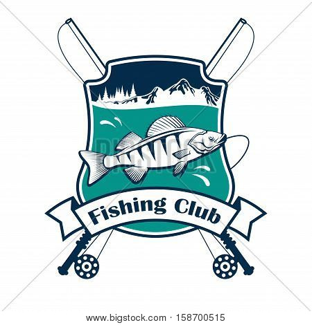 Fishing club sign. Vector isolated fisherman sport club emblem with fish hooked on fishing rod. Fishery adventure sport camp badge ribbon