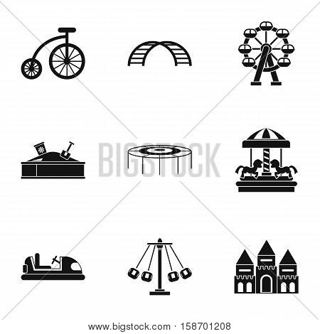 Entertainment for children icons set. Simple illustration of 9 entertainment for children vector icons for web