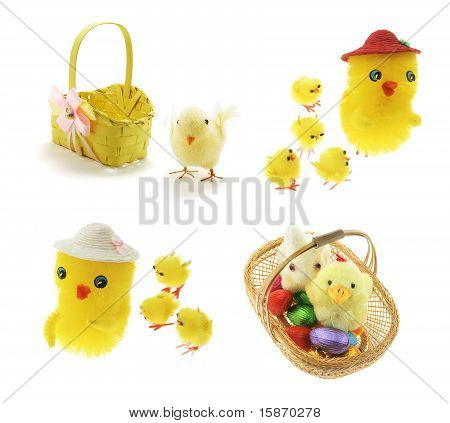 Easter Chickens And Basket