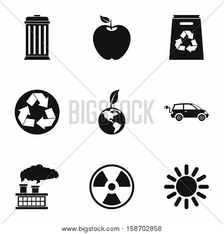 Conservation icons set. Simple illustration of 9 conservation vector icons for web