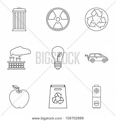 Natural environment icons set. Outline illustration of 9 natural environment vector icons for web