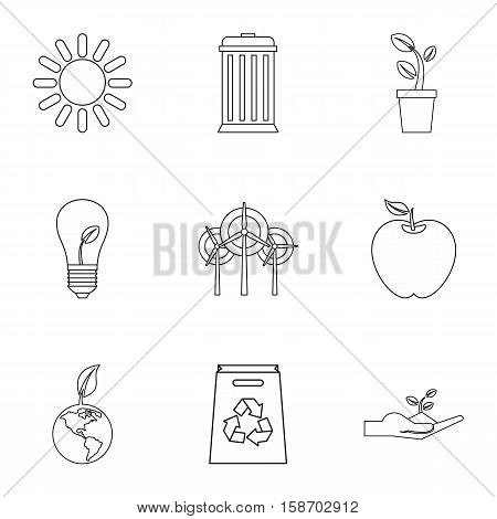 Environment icons set. Outline illustration of 9 environment vector icons for web