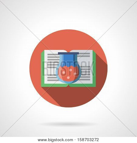 Open book with green cover and glass flask with red liquid. Potion and magic literature. Education, library and bookstore. Round flat color design vector icon.