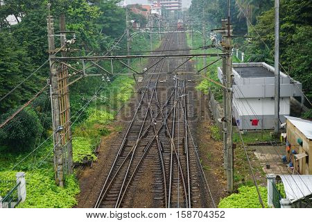 railway after rain in depok indonesia photo