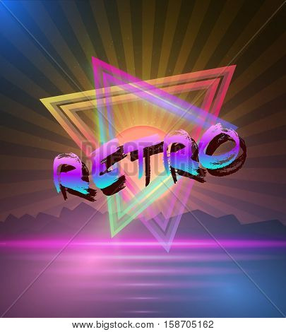 Illustration of Retro Music Abstract Poster Cover 1980s Style Background. Neon Disco Poster Template 80s Background