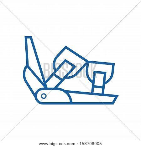 Ski binding vector icon in outline design. Snowboard binding thin line illustration.