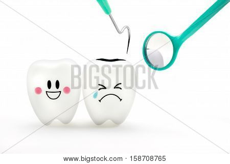 Teeth smile and crying emotion with dental mirror and dental plaque cleaning tool isolated on white background With clipping path teeth and tool
