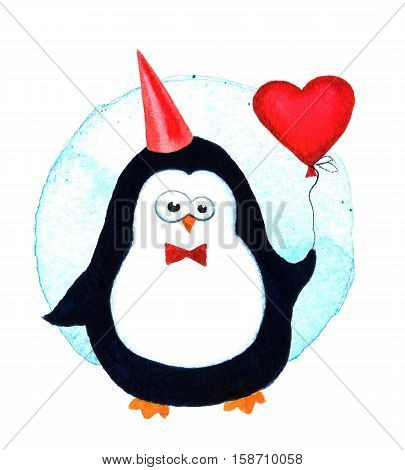 Cartoon penguin for babies and little kids. Cartoon penguin character. Funny bird. Watercolor illustration isolated on white background