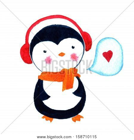 Cartoon penguin love for babies and little kids. Cartoon penguin character. Funny bird. Watercolor illustration isolated on white background