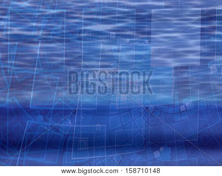 Abstract technology background - computer-generated image. Fractal art: glossy wavy surface with curled grid with square cells. Hi-tech, industrial or business backdrop.
