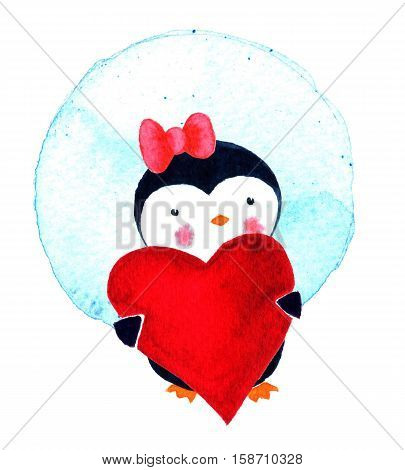 Cartoon penguin for babies and little kids. Cartoon penguin character. Card on Valentine's Day with love penguins. Watercolor illustration isolated on white background