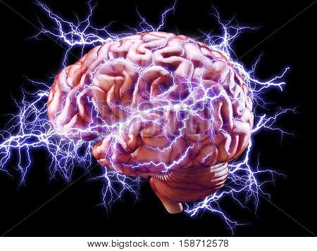 3d Illustration of human brain with lightnings isolated brainstorm concept