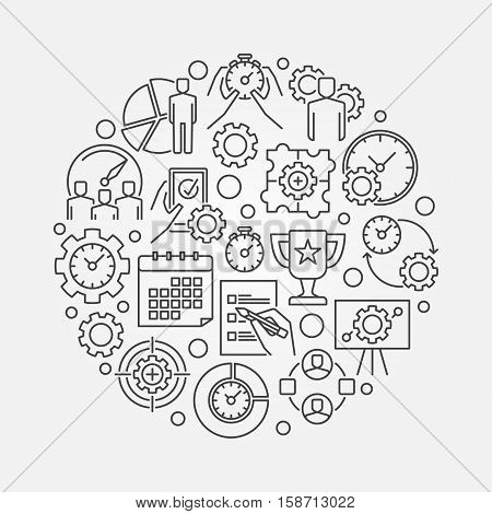 Business management round illustration. Vector productivity and time management concept sign in thin line style